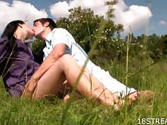 Horny russian amateurs outdoor sex