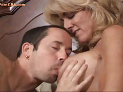 Huge titted granny loves young hard cock to fuck.