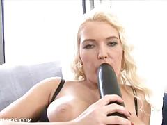 Big black dildo fuck for blonde erin