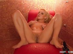 Horny blonde gets off on camera