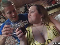Massive tits lady gets naked and gives head