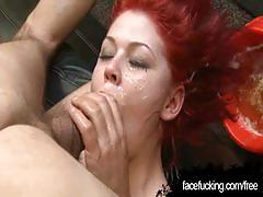 Hot redhead beth gets face fucked & pussy pounded.