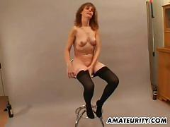 Redhead amateur babe sucks and rides hard cock.