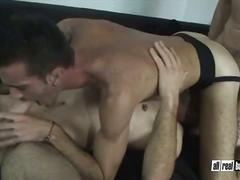 Barebacking studs loves threesome hardcore sex