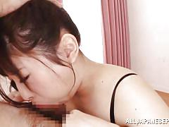 Japanese babe gets face fucked against the bed
