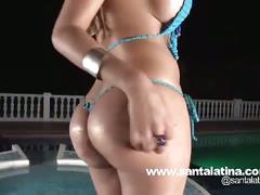 Colombian babe sucks cock by the pool