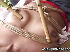Japanese stunner tied up and played with sticks.