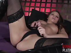 Sexy superstar dani daniels in black fishnet stockings