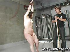 milf, japanese, beaten, dungeon, tied up, bamboo, black hair, asians bondage