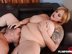 Tattooed plumper sashaa juggs getting spooned