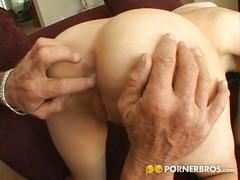 Teen slut has a trio with her bf and an older man