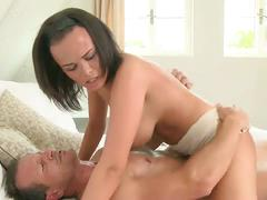 Sexy brunette slut gets banged hard