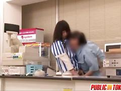 Japanese shop attendant gets cunt teased upskirt