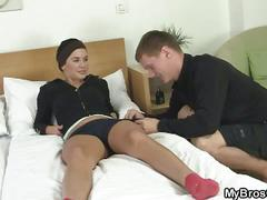 Brother's girlfriend takes a fat cock in her pussy