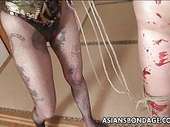 bdsm, spanking, babe, asian, mistress, big butt, brunette, bamboo, rope bondage, candle wax, asians bondage