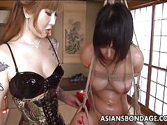 bdsm, spanking, babe, asian, mistress, big butt, brunette, bamboo, rope bondage, candle wax, asians bondage