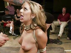 Blonde gets tortured by a group of men and women