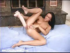 Judy loves fucking her pussy with brutal dildos