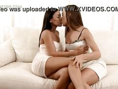 Super hot lesbian kiss scene with stunning teen girls