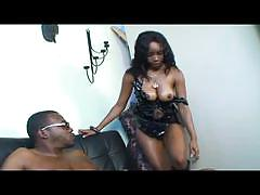 Hot busty ebony gets big black cock and hardcore fucks