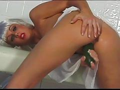 Crazy horny blonde ana terry uses cucumber to masturbate with