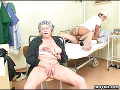 Hot brunette nurse rides an older dude's hard cock