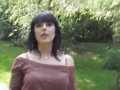 Brunette fucks unknow publicly for money