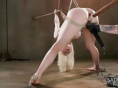Milky white blonde tied hanged and dildo fucked
