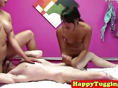 Two asian masseurs wild threesome happy ending