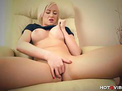 Busty blonde victoria waigel toys her wet pussy