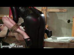 Gothic babe torture her slave and toys her pussy.