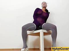Winnie rides a huge black dildo in her nylon