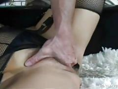 Babe with trimmed cunt sucks a cock