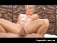 Sexy blonde gets oiled and fucked
