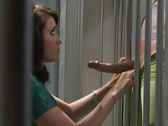 babe, costume, blowjob, pussy licking, batman, black hair, prison cell, through the bars, movie parody, wicked pictures, kimberly kane