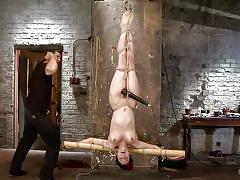 babe, hanging, redhead, whipping, vibrator, dungeon, upside down, executor, rope bondage, hogtied, kink, iona grace