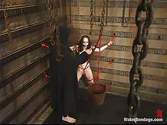 small tits, babe, slim, domination, brunette, dungeon, wet body, water bdsm, rope bondage, water bondage, kink, maya matthews