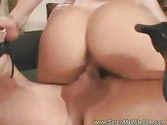 Sensual brunette gets fucked in front of her man