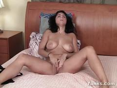 Busty brunette satine fingering her delicious muff