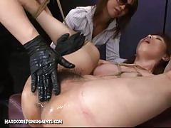 Asian slave fucked with multiple toys