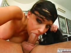 Green eyed aletta gets pounded by two horny guys