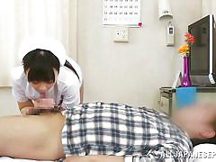 Hot asian nurse fingered while giving head