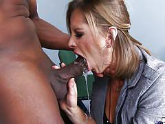 Blonde mommy busting black balls & cock