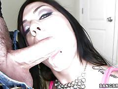 Brunette hottie sucking a huge dick