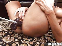 Blonde mom in stockings masturbates wildly