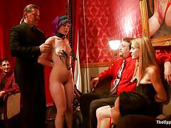 bdsm, lesbians, blowjob, humiliation, babes, brunette, tit torture, purple hair, nipple clamps, rope bondage, the upper floor, kink, proxy paige, owen gray, coral aorta