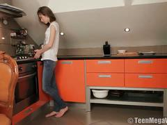 Skinny brunette teen gets assfucked in kitchen