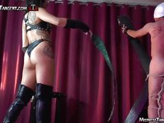 Harsh femdom whipping from mistress tangent in leather