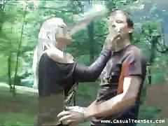 He picks up a babe and fucks her in the forest