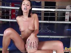 Mistress is having her obedient slave lick her pussy
